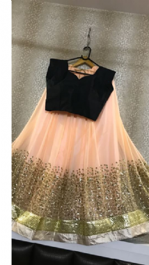 Striking Embellished Peach Lehenga